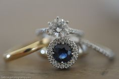 Gorgeous blue sapphire wedding ring. Photo by Tad Craig Photography
