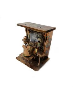 1970s Copper Music Box Plays The Sting Theme Song, Metal Art Sculpture of Ragtime Pianist at Player Piano, WORKS! -- ThirdFloorRetro