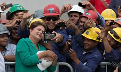 Brazilian president Dilma Rousseff visits construction workers in Rio