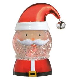 Whimsical Santa Head Shimmer Light with Hat and Bell, Santa Face Shimmer Light, Midwest-CBK Santa Head, Santa Face, Shimmer Lights, Snow Globes, Whimsical, Hat, Christmas, Color, Chip Hat