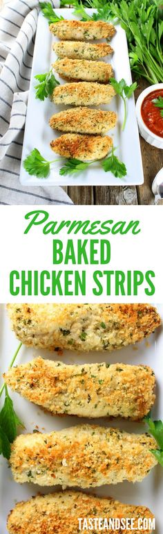 Parmesan Baked Chicken Strips - golden, tender & juicy!  Coated in a cheesy crust w/ a marinara sauce.  http://tasteandsee.com