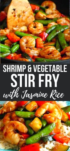 This shrimp stir fry recipe can be whipped up in minutes, is packed with veggies and served on a bed of aromatic jasmine rice. 309 calories and 6 Weight Watchers SP | Recipes | Healthy | Easy | Sauce | Snap Peas | Seafood #stirfry #shrimpstirfry #vegetablestirfry #shrimprecipes Healthy Low Carb Dinners, Easy Healthy Recipes, Healthy Pastas, Healthy Dishes, Healthy Food, Easy Meals, Low Carb Shrimp Recipes, Stir Fry Recipes, Lunch Recipes