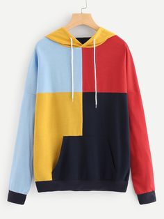 Cut And Sew Panel Hoodie -SheIn(Sheinside) - Kleidung Ideen Stylish Hoodies, Cool Hoodies, Crop Top Outfits, Cute Casual Outfits, Hoodie Sweatshirts, Jackett, Aesthetic Clothes, Long Sleeve Tops, Fashion Outfits