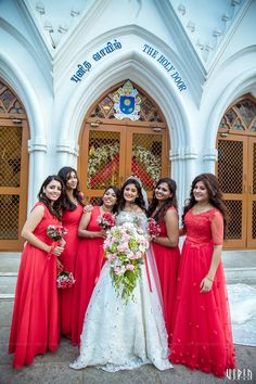A Gorgeous Church Wedding Amidst A Vibrant Ambience Indian Wedding Bridesmaids, Indian Bridesmaid Dresses, Bridesmaid Saree, Bridal Dresses, Bridesmaid Outfit, Christian Wedding Dress, Christian Bridal Saree, Christian Bride, Hindu Bride