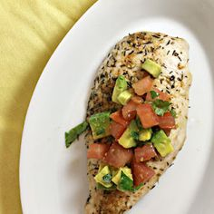 Seared Chicken with Avocado Salsa #healthy and oh so #tasty