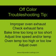 Off Color Powder Coating Troubleshooting Tip www.MITPOWDERCOATINGS.com