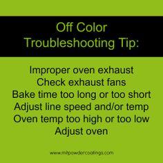 Off Color Powder Coating Troubleshooting Tip www.MITPOWDERCOATINGS.com