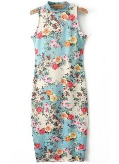 Blue Stand Collar Sleeveless Floral Slim Dress 22.17