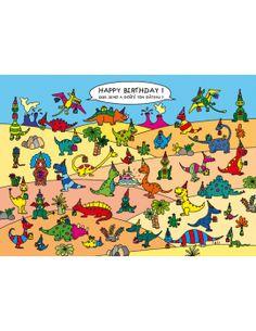 """Carte Lali """"L'anniversaire du Dinosaure"""""""