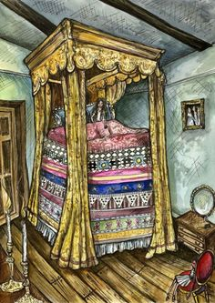 The Princess and the pea Fairy Tale Art Print by AlmostAnAngel66