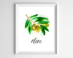 Olive Watercolor Kitchen Digital Download Print from paper and palette