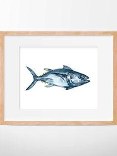 Tuna Fish Print Tuna Art Tuna Watercolor Fish Art by HippieHoppy
