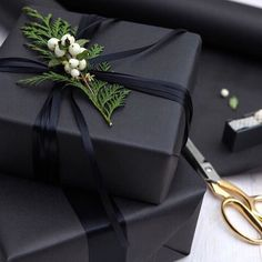 Black white Christmas gift wrap