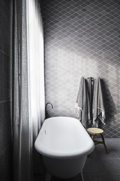 Contemporary bathroom with gray tiles designed by Studio Griffiths, styling by Studio Moore and photo by Sharyn Cairns click now for info. Contemporary Office, Contemporary Bathrooms, Contemporary Interior, Contemporary Apartment, Contemporary Wallpaper, Contemporary Chandelier, Contemporary Garden, Contemporary Style, Contemporary Stairs