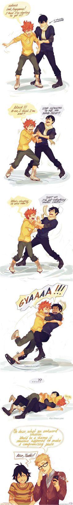 Haikyuu! Kageyama and Shoyo - ice skating :3