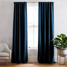 Textured Upholstery Velvet Curtain, Regal Blue, at West Elm - Window Treatments - Home Decor - Wall Decor Worn Velvet Curtain - Regal Blue Striped Curtains, Cotton Curtains, Drapes Curtains, Blue Velvet Curtains, Cotton Fabric, Dark Blue Curtains, Cotton Canvas, Bedroom Curtains, West Elm