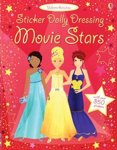 FINE MOTOR-Meet Mia, Summer and Jenna, three actresses who love performing in front of a movie camera. Use the stickers in this book to dress them for an audition, an action movie, an award ceremony and lots more.Usborne Books & More. Sticker Dolly Dressing Movie Stars $8.99