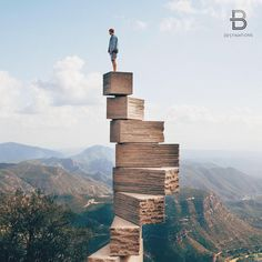 Jenga-like monument that leads into the sky. It is in Montserrat, only a one hour train journey fro  Barcelona.