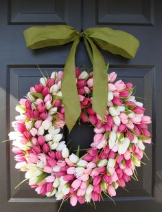 Pink Tulip Wreath with Ribbon