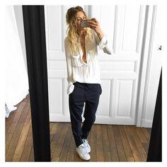 @meleponym sur Instagram : +un gilet Cachemire et une veste en cuir✔Chemise #Zara (old) pantalon Senda #isabelmarant chez @kidnapull.reims baskets #stansmith sur @adidasoriginals #ootd