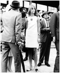 Jean Shrimpton shocking them in 1965 by wearing a miniskirt to the Melbourne Cup race (Australia)