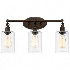 Franklin Iron Works Industrial Rustic Wall Light LED Bronze Hardwired 21 Wide Fixture Clear Glass for Bathroom Vanity Best Bathroom Lighting, Bathroom Light Fixtures, Led Wall Sconce, Sconces, Rustic Wall Lighting, Bath Light, Light Led, Light Bulb Wattage, Vintage Industrial Decor