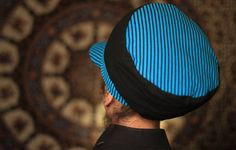 Dreadbag  black and blue stripped dreadlocks cap by WuSquared