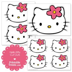 Free Hello Kitty Wearing a Flower Cut Outs from PrintableTreats.com