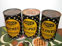 Vintage ASCO Spice Tins - Nutmeg, Allspice & Cloves - American Stores Co., Philadelphia, Pa