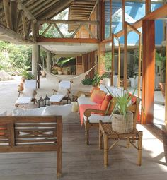 Rustic beach house in Brazil - dream house. Love the outdoor living space Architectural Digest, Coastal Living Rooms, Living Spaces, Brazil Houses, Tropical Beach Houses, Tropical Beaches, Tropical Paradise, Porches, Spanish House