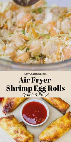 These Easy Shrimp Egg Rolls are the best homemade appetizer that can be served baked or fried. This recipe includes quick video instructions on how to roll egg roll wrappers. These are perfect to make ahead and freeze for later! Air Fryer Recipes Egg Rolls, Air Fryer Dinner Recipes, Air Fry Recipes, Egg Roll Recipes, Recipe For Egg Rolls, Vegan Egg Rolls, Healthy Egg Rolls, Easy Healthy Recipes, Easy Meals