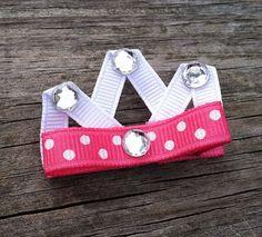 Pink Princess Crown Hair Clip Princess Crown Ribbon by leilei1202