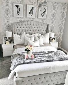 30 Amazingly Beautiful Silver Bedroom Ideas That Are The Current Trend - Silver Grey Bedroom Design - Grey Bedroom Design, Grey Bedroom Decor, White Bedroom, Bedroom Furniture, Bedroom Ideas, Furniture Sets, Bedroom Colours, Grey Bedroom Wallpaper, Master Bedroom Grey