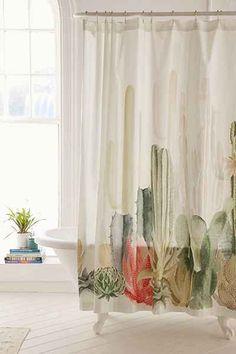 Rideau de douche à paysage de cactus 72$