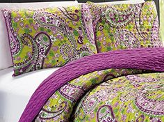 """3-Piece KING / CAL KING Printed Paisley / Solid Purple Green Reversible Bedspread Embossed Coverlet set Bed Cover  King size Bedspread (Coverlet) Set  Size Bed Spread - 102""""X90"""", 2X Shams 20""""X36""""  Reversible - like getting 2 bedspreads for price of one  100% Micro Fiber. Machine wash in cold water with similar colors.  Tumble dry low. Do not bleach"""