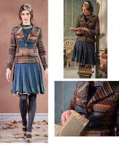 IVKO Woman`s  Wool Sweater Short Lapel Style 32619 019 in BLUE. Ivko's 100% wool short jacket. Fully lined in 100% bright turquoise silk. Geometric pattern and lapel collar, great for office or play. 22 inch (56 cm) length. Made in Belgrade, Serbia.