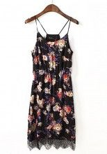 Multicolor Flowers Print Round Neck Ankle Chiffon Dress