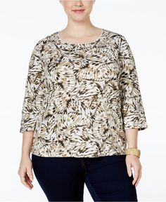 NWT 3X Karen Scott Plus size printed top 3/4 Sleeve New Khaki #KarenScott #Blouse