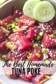 This Best Ever Tuna Poke recipe is so easy to make at home! It's light, fresh, healthy and delicious! Loaded with the freshest tuna and all the flavors you dream of in fresh poke! Fresh Tuna Recipes, Sushi Recipes, Seafood Recipes, Asian Recipes, Dinner Recipes, Healthy Recipes, Ono Kine Recipes, Ahi Tuna Poke, Tuna Ceviche