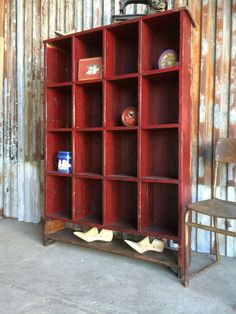 Antique Vintage School Old Pine Pigeon Holes Shelving Display Rustic Shabby Chic