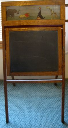 Antique Vintage Child's Oak Wood Chalkboard Easel Desk Door Greeter Message…