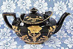 Edwardian Teapot Black Mourning England Jackfield Art Nouveau