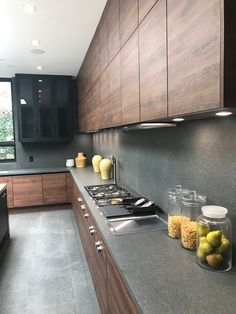 grey kitchen interior Check out this wood layering technique in the five must know trends of Modern Kitchen Design Grey Kitchen Interior, Kitchen Room Design, Modern Kitchen Cabinets, Modern Farmhouse Kitchens, Kitchen Cabinet Design, Home Decor Kitchen, Kitchen Modern, Modern Kitchen Furniture, Small Modern Kitchens