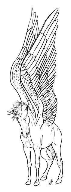Pegasus Coloring Standing Tall - Free by Blusl Pegasus Tattoo, Coloring Books, Coloring Pages, Drawing Hair Tutorial, Unicorns, Unicorn Tattoos, Horse Art, Mythical Creatures, Line Art