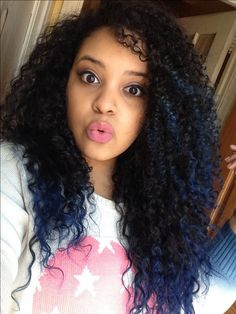 Blue tips. Natural curly hair ombré