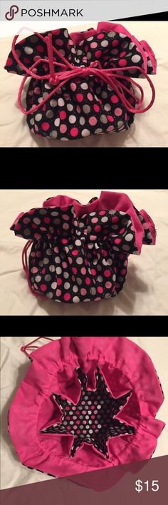 Travel jewelry pouch- handmade by me! Drawstring travel jewelry pouch in pink and black polka dot glitter pattern! Has eight interior pockets for rings, earrings, or necklaces. Middle space perfect for watch and bracelets! New, no tags. Handmade by me! Bags Travel Bags
