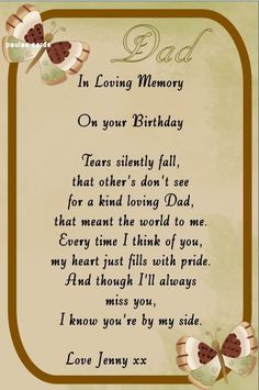KEEP SAKE IN LOVING MEMORY ,DAD, Any Relative or Name. BIRTHDAY