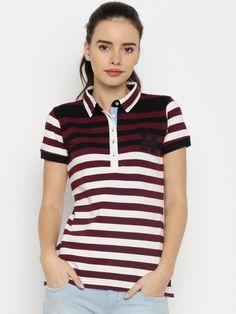 c5ca3cc06 Buy Harvard Women White   Burgundy Striped Polo T Shirt - Tshirts for Women