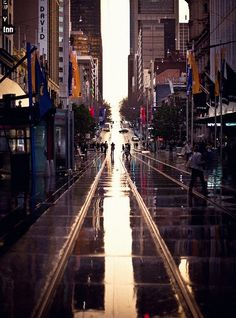 Bourke Street in the rain.