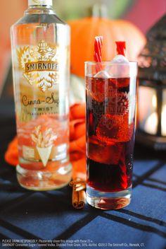 Smirnoff Cinna-Sugar Cherry Cocktail with 1.5 oz Smirnoff Cinna-Sugar Twist Flavored Vodka, 3.5 oz cherry cola,1 tsp grenadine and 2 cherry licorice sticks for garnish. Mix first 2 ingredients in tall glass over ice; add a splash of grenadine. Garnish with cherry licorice sticks.